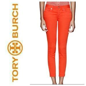 TORY BURCH Orange Alexa Cropped Skinny Jeans